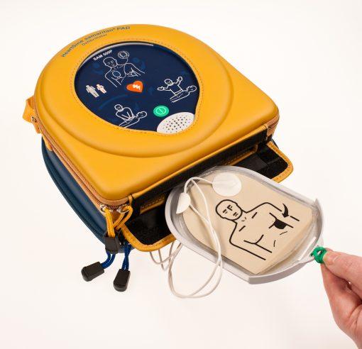 heartsine AED samaritan defibrillator in operation
